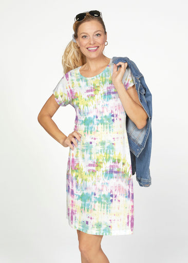 Summer Tie Dye (7878) ~ Smooth Terry Short Sleeve Crew Dress