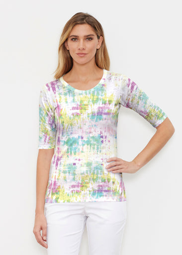 Summer Tie Dye (7878) ~ Elbow Sleeve Crew Shirt