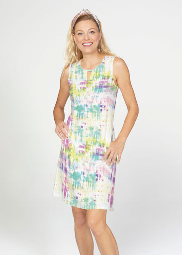 Summer Tie Dye (7878) ~ French Terry Keyhole Sleeveless Dress