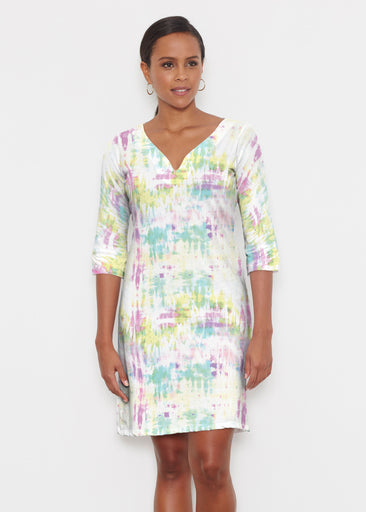 Summer Tie Dye (7878) ~ Classic 3/4 Sleeve Sweet Heart V-Neck Dress