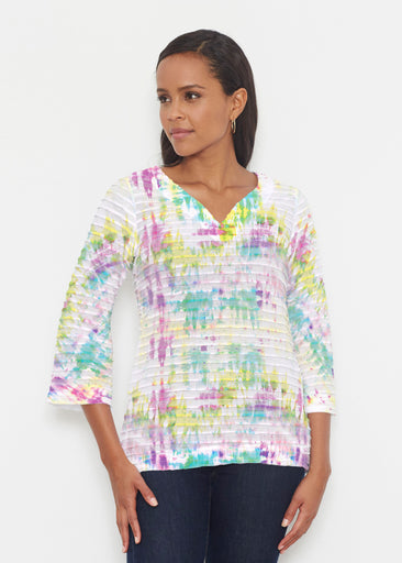 Summer Tie Dye (7878) ~ Banded 3/4 Bell-Sleeve V-Neck Tunic