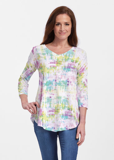 Summer Tie Dye (7878) ~ V-neck Flowy Tunic