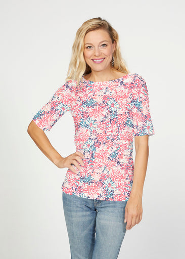 Tulips Are Back (7880) ~ Banded Elbow Sleeve Boat Neck Top
