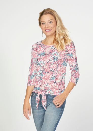 Tulips are Back (7880) ~ French Terry Tie 3/4 Sleeve Top