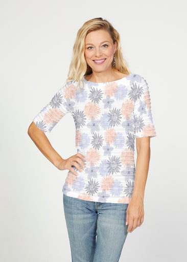 Off The Grid (7881) ~ Banded Elbow Sleeve Boat Neck Top