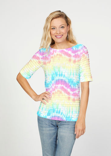 Waves Tie Dye (7896) ~ Banded Elbow Sleeve Boat Neck Top