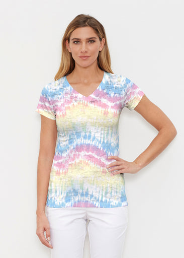 Waves Tie Dye (7896) ~ Signature Cap Sleeve V-Neck Shirt