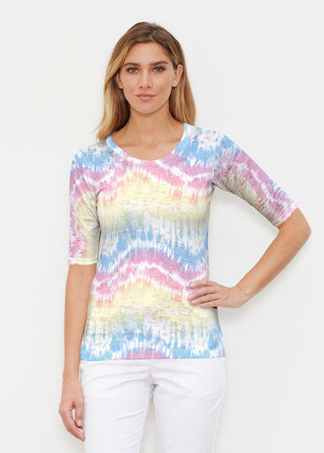 Waves Tie Dye (7896) ~ Elbow Sleeve Crew Shirt