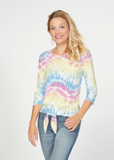 Waves Tie Dye (7896) ~ French Terry Tie 3/4 Sleeve Top