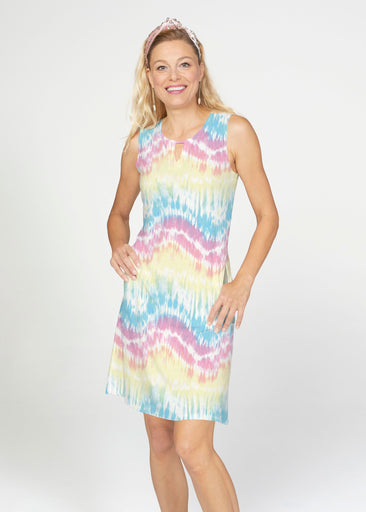 Waves Tie Dye (7896) ~ French Terry Keyhole Sleeveless Dress