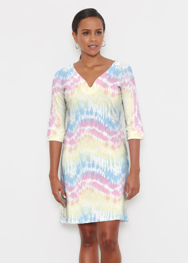 Waves Tie Dye (7896) ~ Classic 3/4 Sleeve Sweet Heart V-Neck Dress