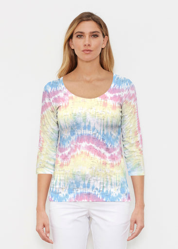 Waves Tie Dye (7896) ~ Signature 3/4 Sleeve Scoop Shirt