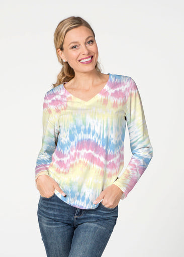 Waves Tie Dye (7896) ~ Smooth Terry V-neck Top