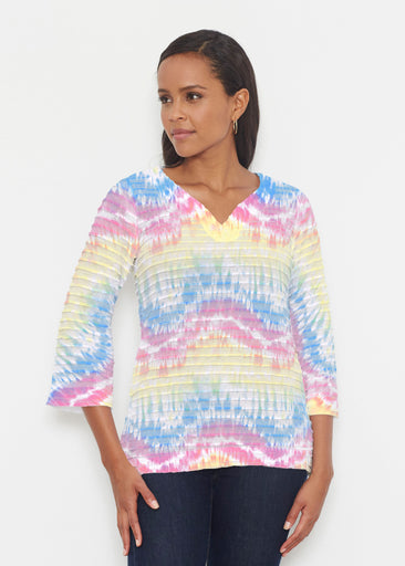 Waves Tie Dye (7896) ~ Banded 3/4 Bell-Sleeve V-Neck Tunic