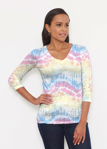 Waves Tie Dye (7896) ~ Signature 3/4 V-Neck Shirt