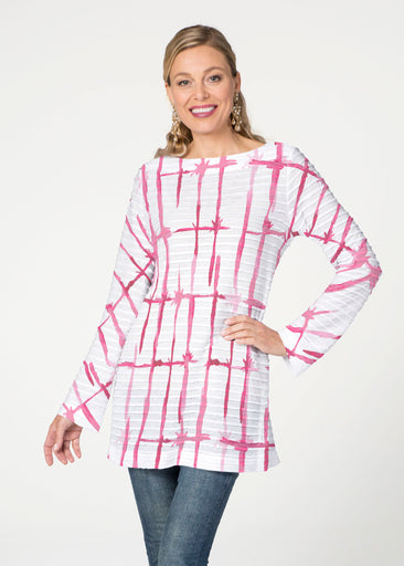 Knotted Pink (7897) ~ Banded Boatneck Tunic