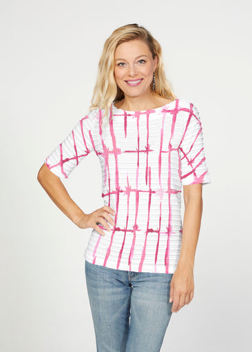 Knotted Pink (7897) ~ Banded Elbow Sleeve Boat Neck Top