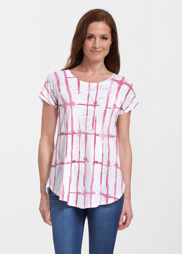 Knotted Pink (7897) ~ Short Sleeve Scoop Neck Flowy Tunic