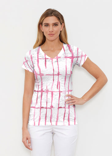Knotted Pink (7897) ~ Signature Cap Sleeve V-Neck Shirt