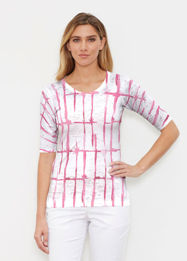 Knotted Pink (7897) ~ Elbow Sleeve Crew Shirt