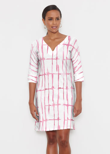 Knotted Pink (7897) ~ Classic 3/4 Sleeve Sweet Heart V-Neck Dress