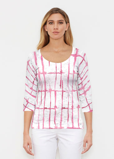 Knotted Pink (7897) ~ Signature 3/4 Sleeve Scoop Shirt