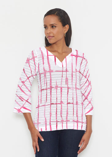 Knotted Pink (7897) ~ Banded 3/4 Bell-Sleeve V-Neck Tunic