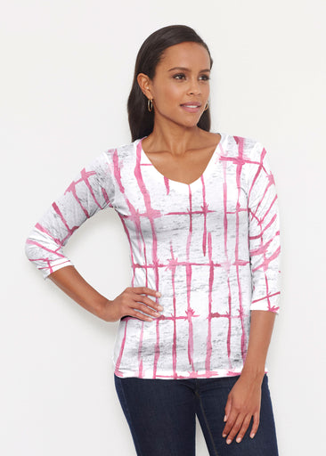 Knotted Pink (7897) ~ Signature 3/4 V-Neck Shirt