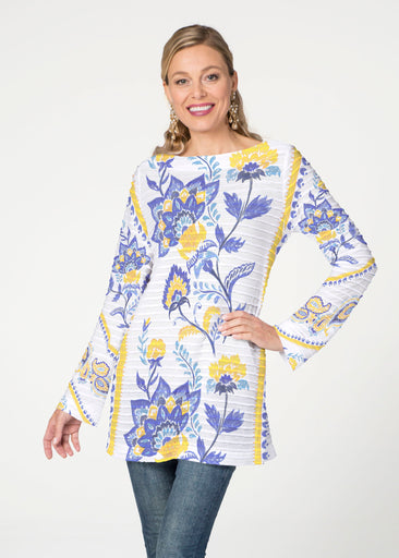 Bohemian Chintz Yellow (7898) ~ Banded Boatneck Tunic
