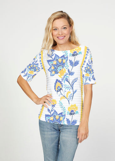 Bohemian Chintz Yellow (7898) ~ Banded Elbow Sleeve Boat Neck Top