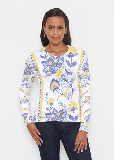 Bohemian Chintz Yellow (7898) ~ Signature Long Sleeve Crew Shirt