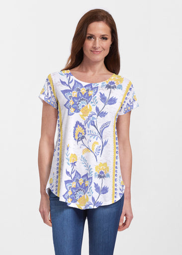 Bohemian Chintz Yellow (7898) ~ Short Sleeve Scoop Neck Flowy Tunic