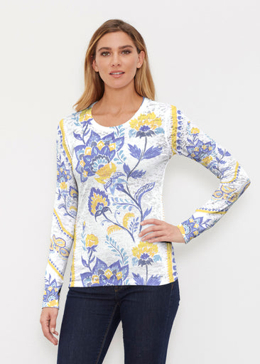 Bohemian Chintz Yellow (7898) ~ Thermal Long Sleeve Crew Shirt