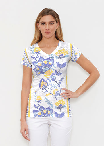 Bohemian Chintz Yellow (7898) ~ Signature Cap Sleeve V-Neck Shirt