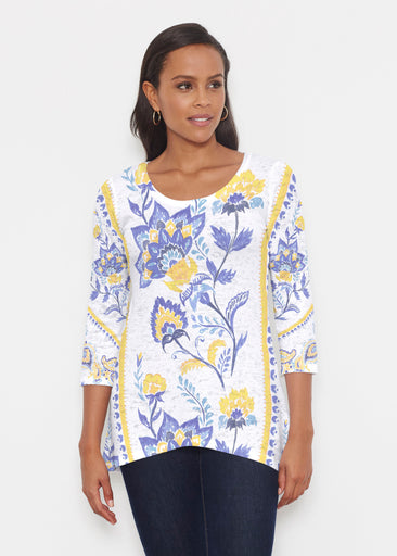 Bohemian Chintz Yellow (7898) ~ Katherine Hi-Lo Thermal Tunic