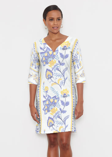 Bohemian Chintz Yellow (7898) ~ Classic 3/4 Sleeve Sweet Heart V-Neck Dress