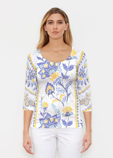 Bohemian Chintz Yellow (7898) ~ Signature 3/4 Sleeve Scoop Shirt