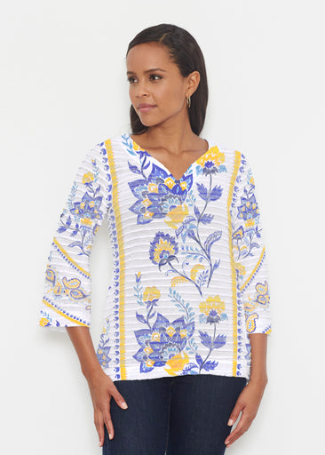 Bohemian Chintz Yellow (7898) ~ Banded 3/4 Bell-Sleeve V-Neck Tunic