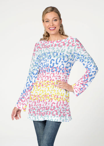 Leopard Ombre Rainbow (7899) ~ Banded Boatneck Tunic