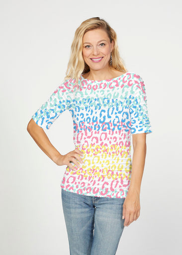 Leopard Ombre Rainbow (7899) ~ Banded Elbow Sleeve Boat Neck Top