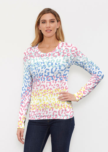 Leopard Ombre Rainbow (7899) ~ Thermal Long Sleeve Crew Shirt