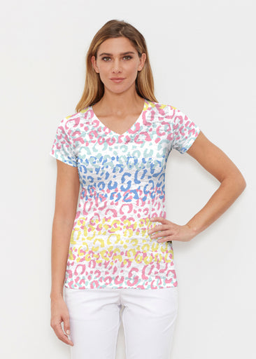 Leopard Ombre Rainbow (7899) ~ Signature Cap Sleeve V-Neck Shirt