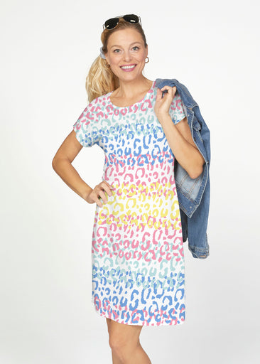 Leopard Ombre Rainbow (7899) ~ Smooth Terry Short Sleeve Crew Dress