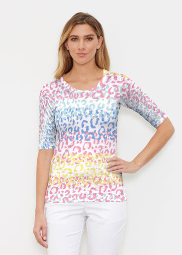 Leopard Ombre Rainbow (7899) ~ Elbow Sleeve Crew Shirt