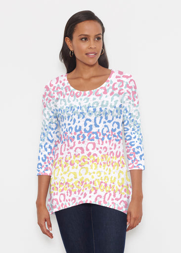 Leopard Ombre Rainbow (7899) ~ Katherine Hi-Lo Thermal Tunic