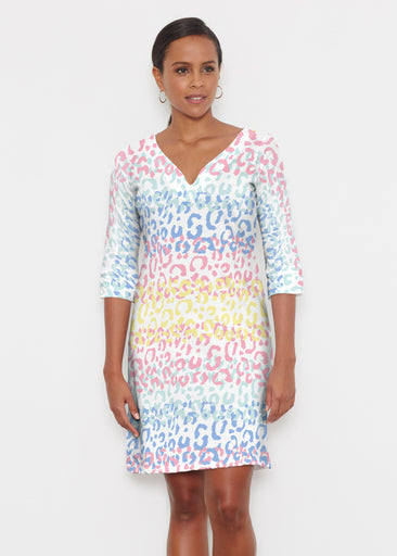 Leopard Ombre Rainbow (7899) ~ Classic 3/4 Sleeve Sweet Heart V-Neck Dress