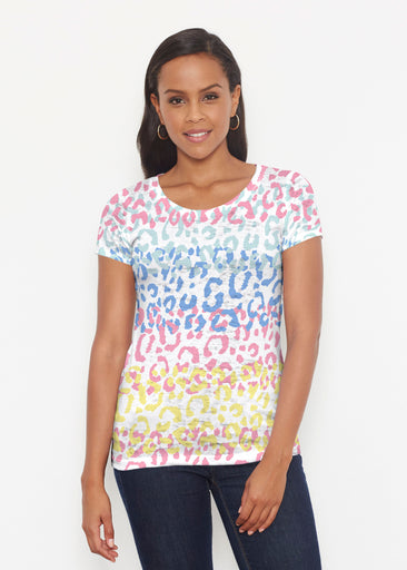 Leopard Ombre Rainbow (7899) ~ Short Sleeve Scoop Shirt