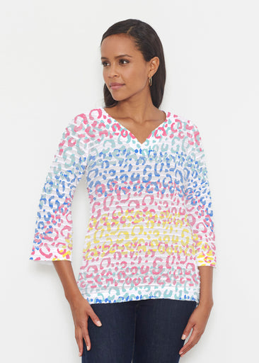 Leopard Ombre Rainbow (7899) ~ Banded 3/4 Bell-Sleeve V-Neck Tunic