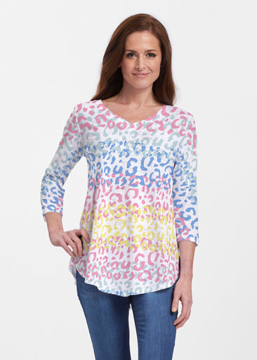 Leopard Ombre Rainbow (7899) ~ V-neck Flowy Tunic