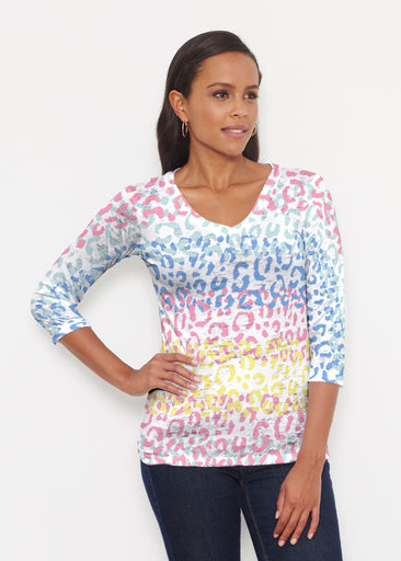 Leopard Ombre Rainbow (7899) ~ Signature 3/4 V-Neck Shirt
